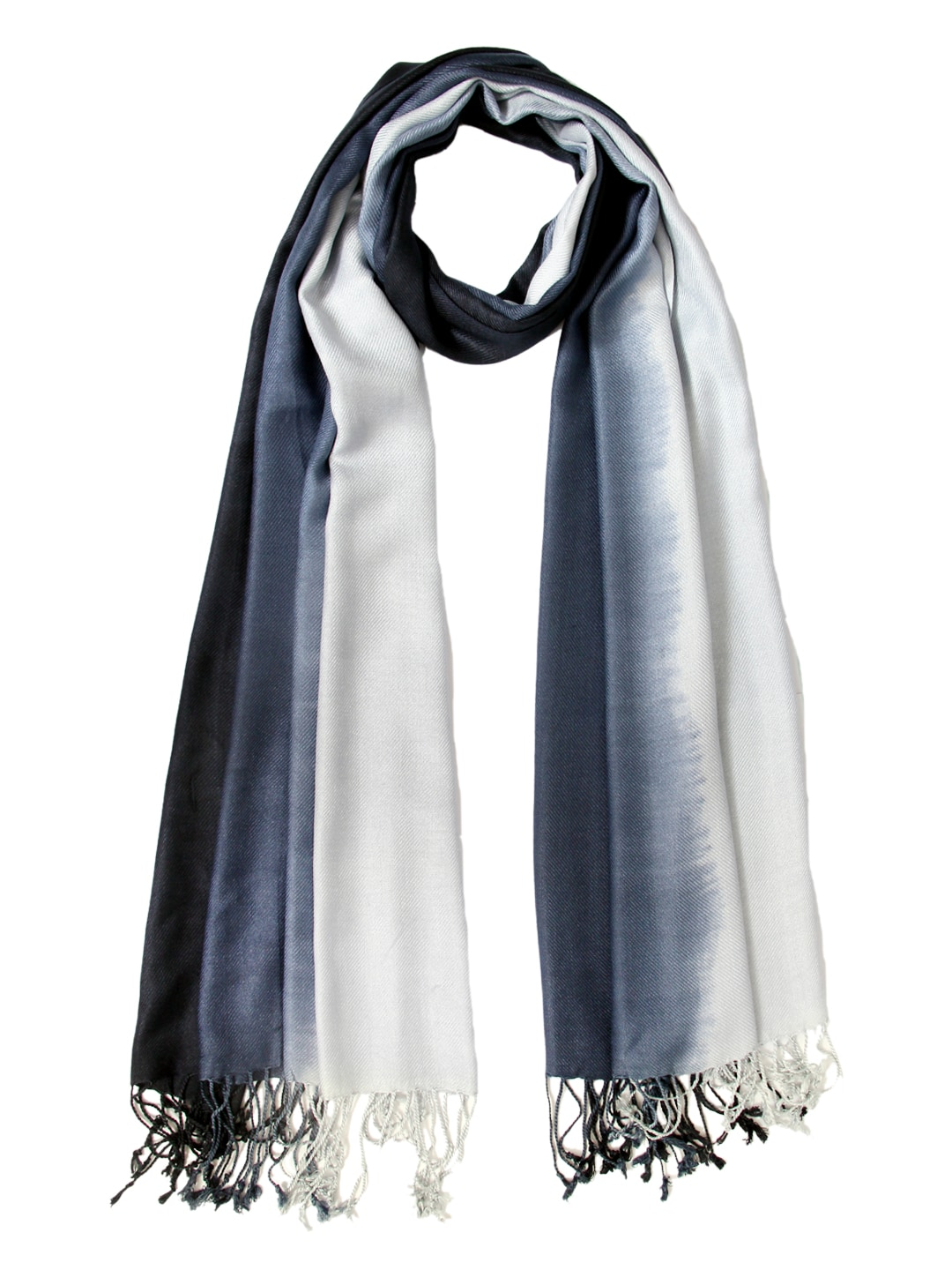 Tassels Tassels Women Blue & Light Grey Stole (Multicolor)