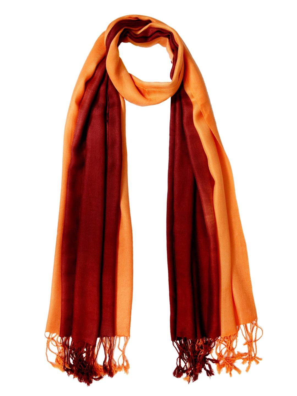 Tassels Tassels Women Brown & Orange Stole (Multicolor)