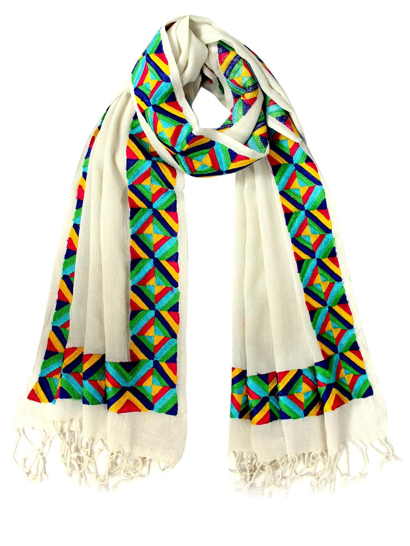 Tassels Tassels Women Multicoloured Embroidered Woollen Stole (Multicolor)