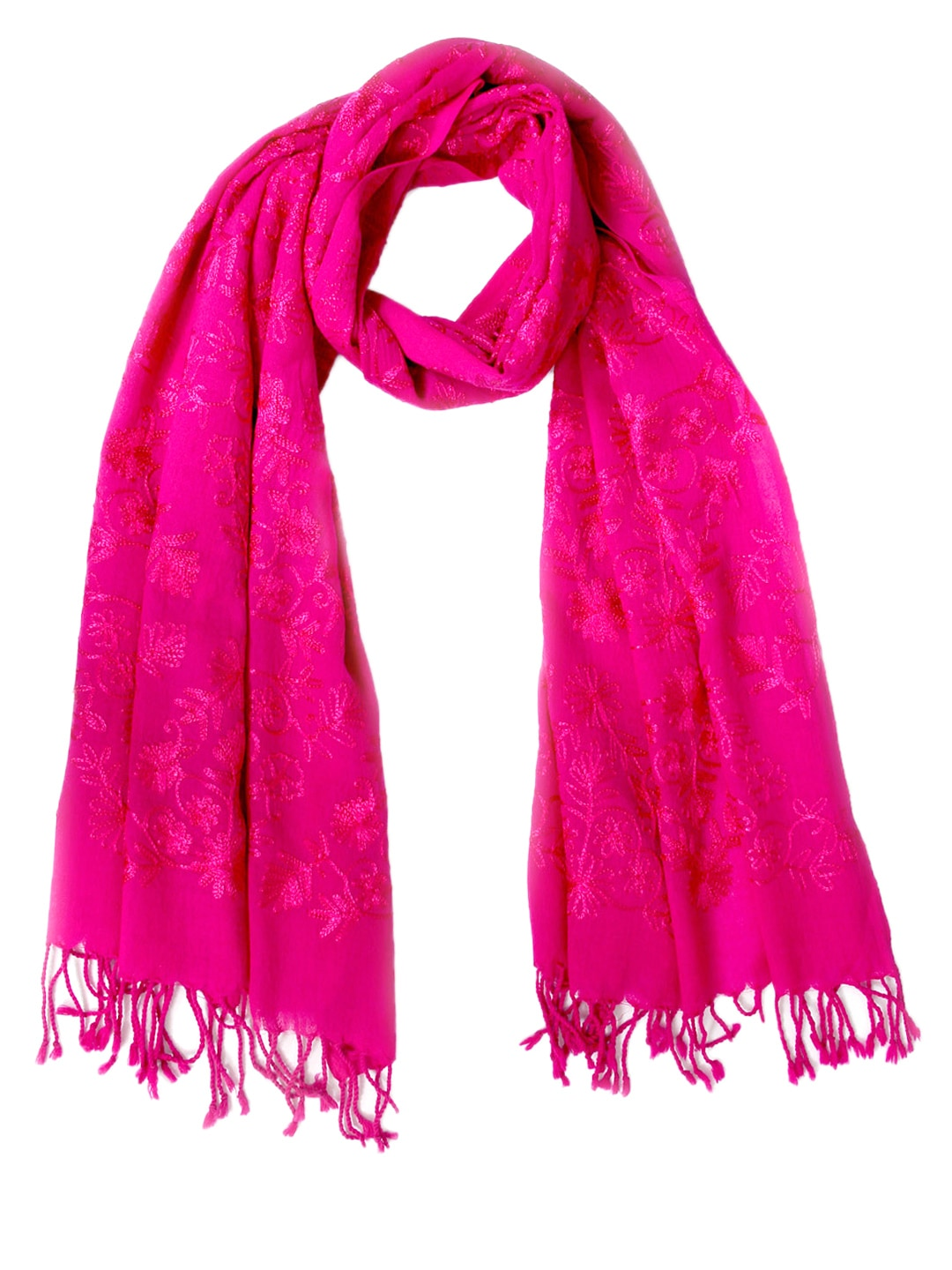 Tassels Tassels Women Pink Embroidered Woollen Stole (Multicolor)