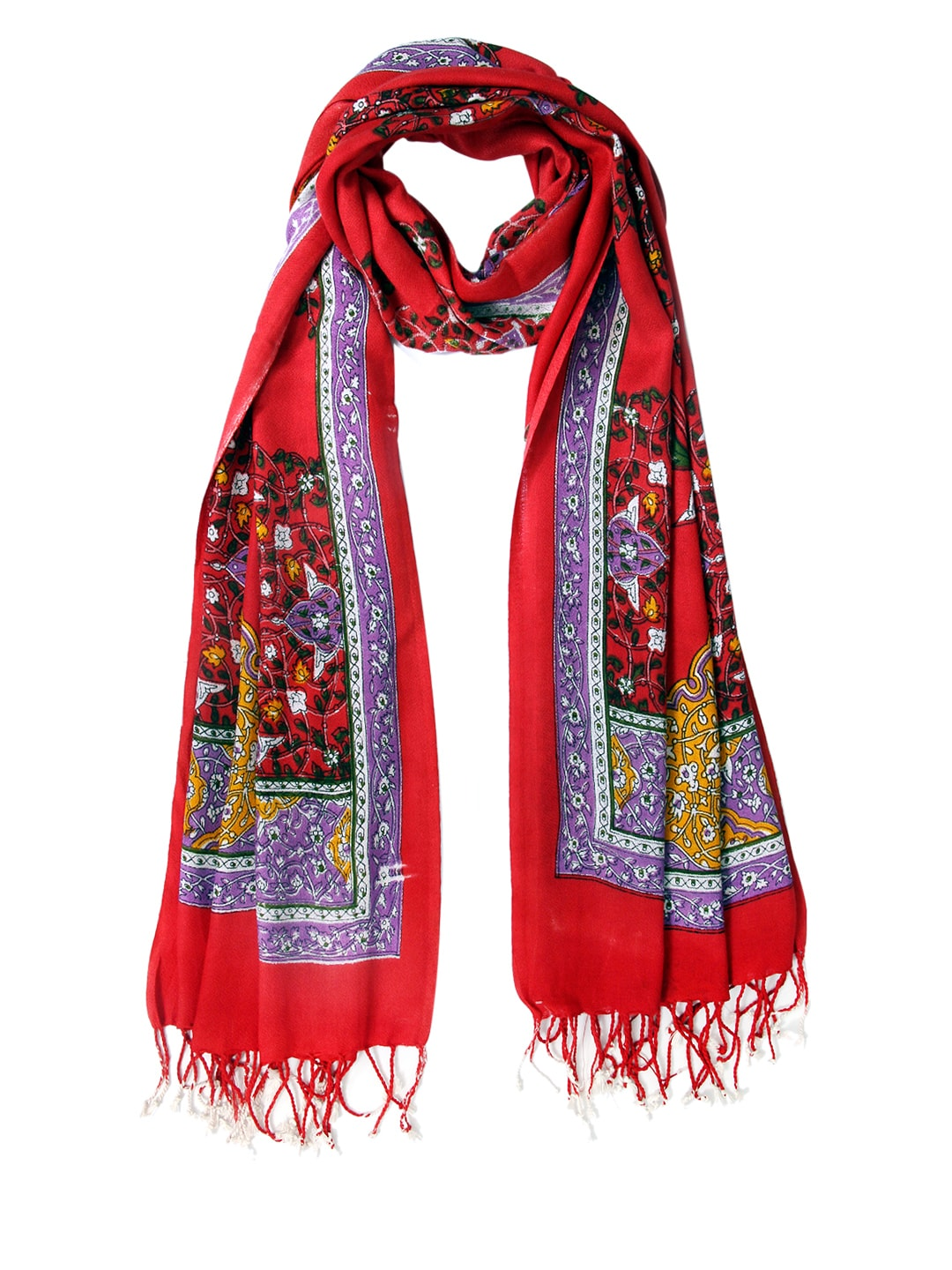 Tassels Tassels Women Red Printed Stole