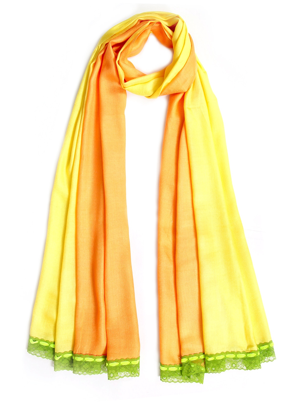 Tassels Tassels Women Yellow & Orange Stole (Multicolor)