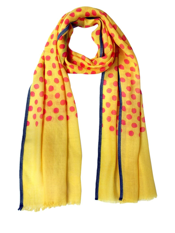 Tassels Tassels Yellow Printed Woollen Stole