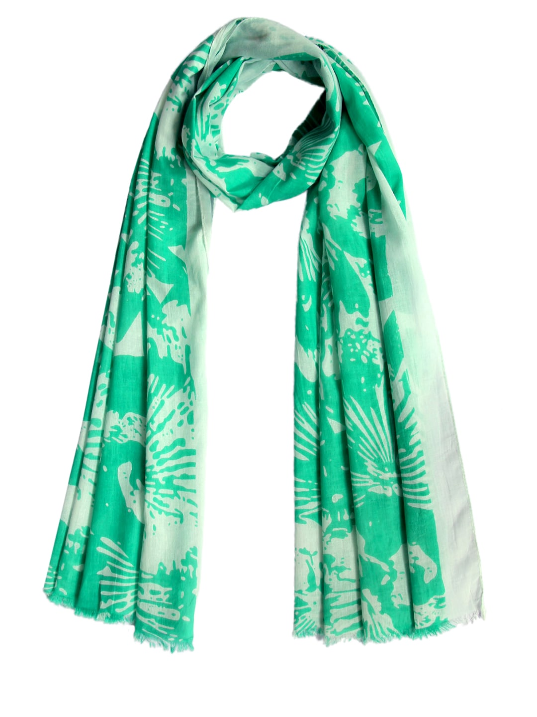 Tassels Tassels Women Green & White Printed Stole (Multicolor)