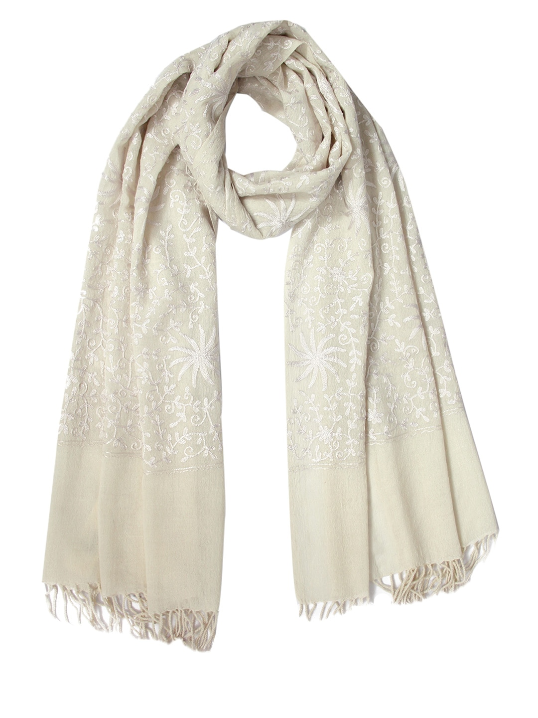 Tassels Tassels Off-White Embroidered Woollen Stole (Multicolor)