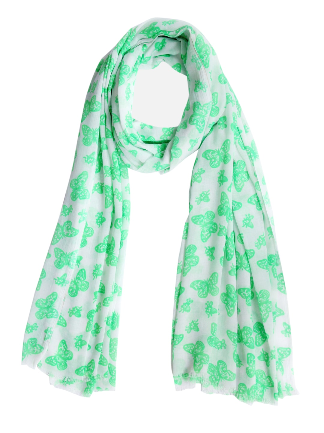 Tassels Tassels Women Fluorescent Green & White Printed Stole (Multicolor)