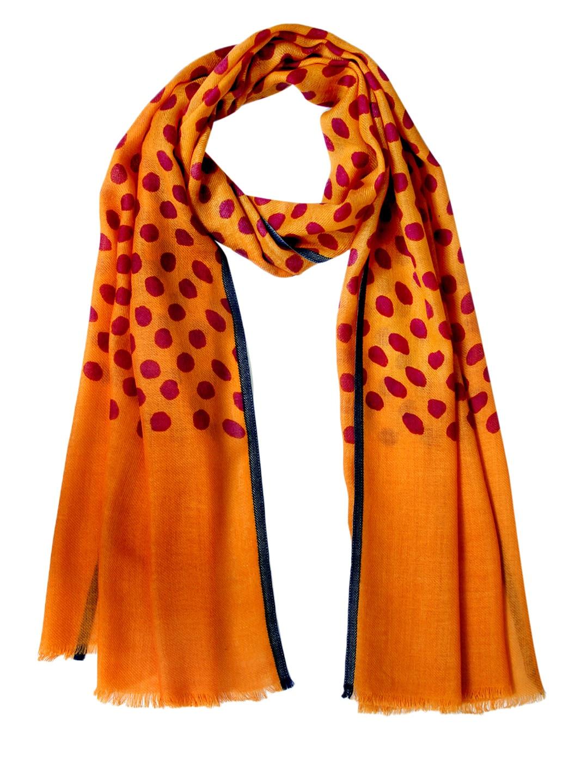 Tassels Tassels Orange Printed Woollen Stole