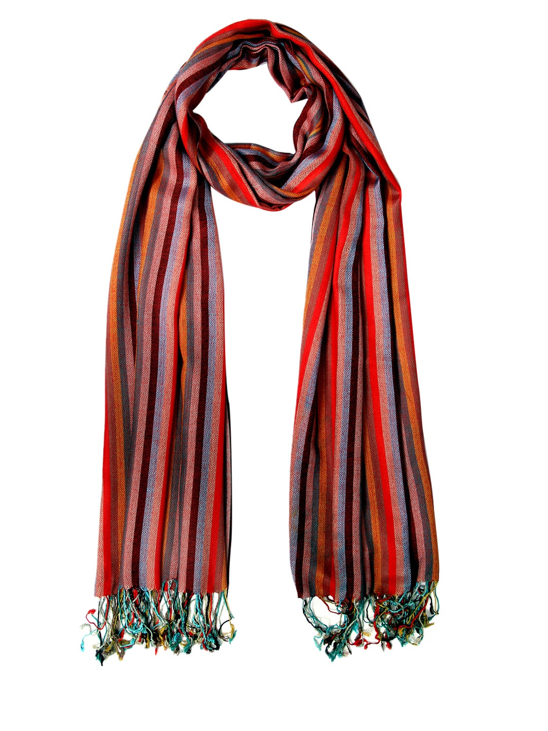 Tassels Tassels Multicoloured Striped Woollen Stole (Multicolor)