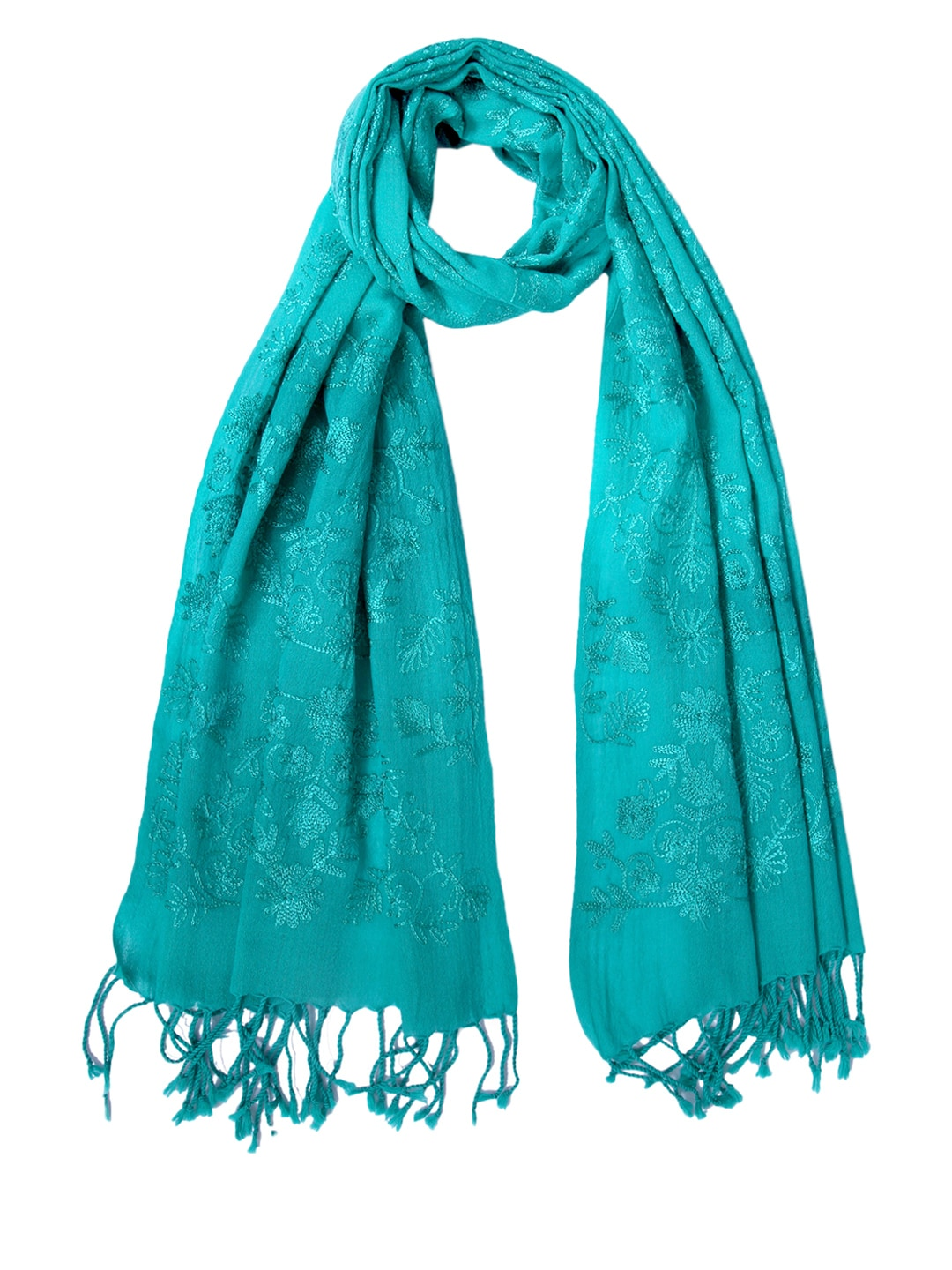 Tassels Tassels Women Teal Blue Embroidered Woollen Stole (Cyan)