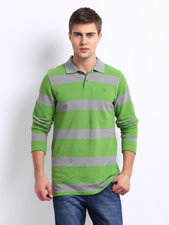 Buy tecza men green grey striped polo t shirt 2 for Mens lime green polo shirt