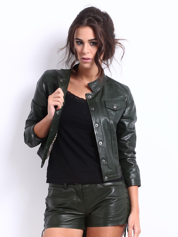 Buy The Vanca Women Dark Green Leather Jacket 1445381 for women ...