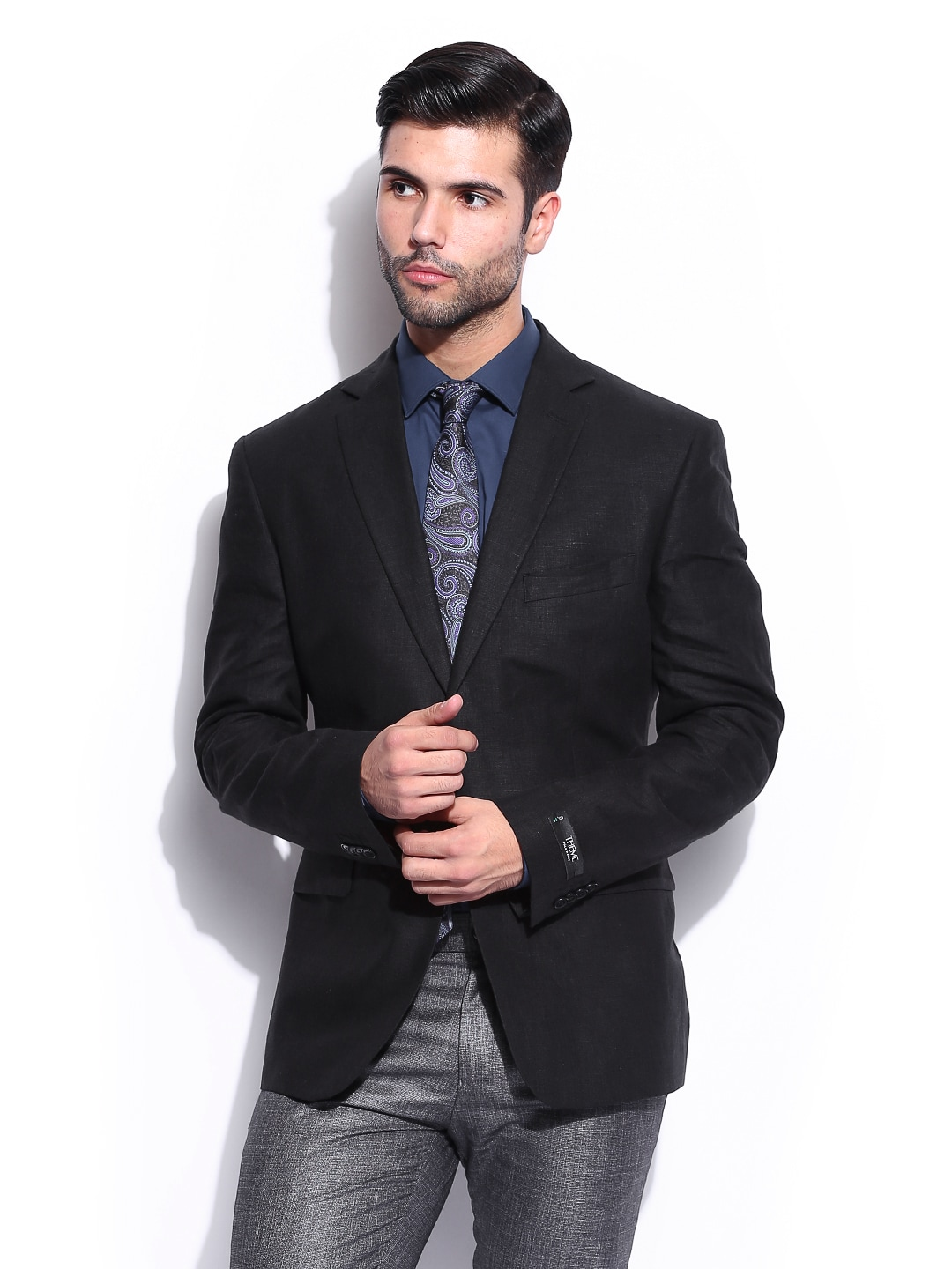 Buy Theme Men Black Slim Fit Linen Blazer - 407 - Apparel For Men - 439206