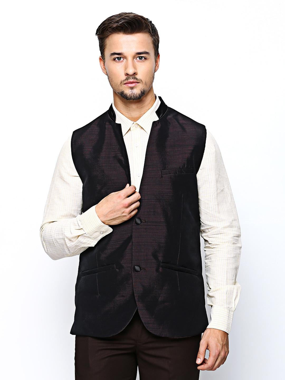 Theme Men Burgundy Slim Fit Nehru Jacket