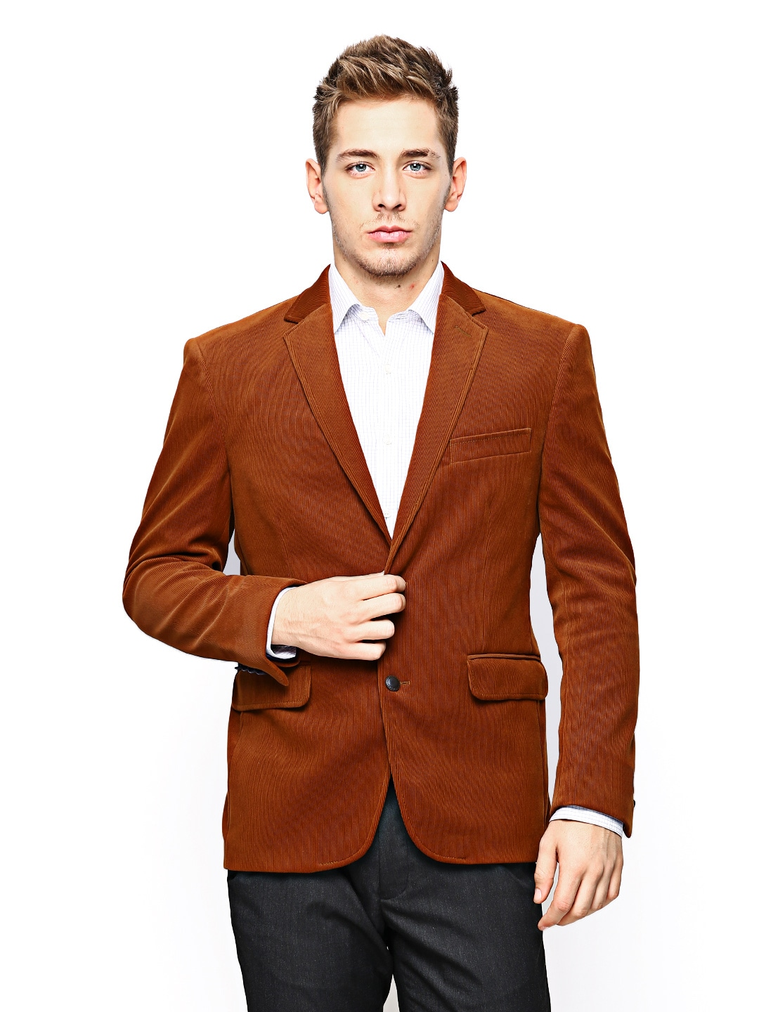 Theme Men Rust Brown Corduroy Slim Fit Blazer