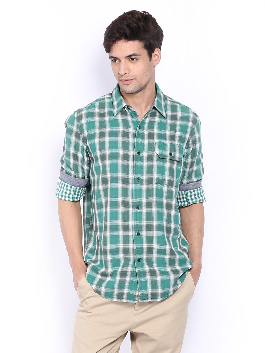 Timberland Timberland Men Green & White Checked Casual Shirt (Multicolor)