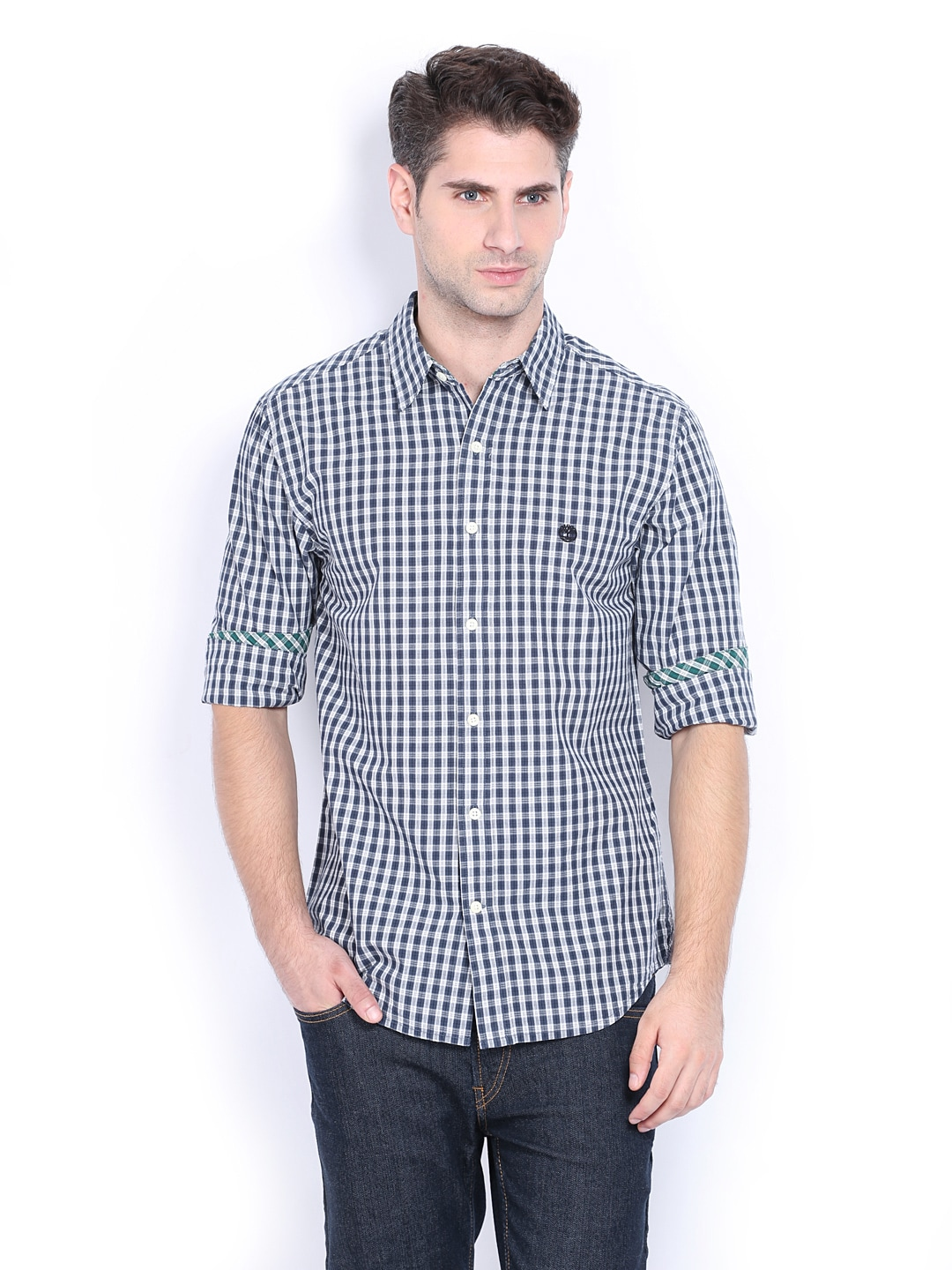 Timberland Timberland Men Navy & White Checked Slim Fit Smart-Casual Shirt (Multicolor)