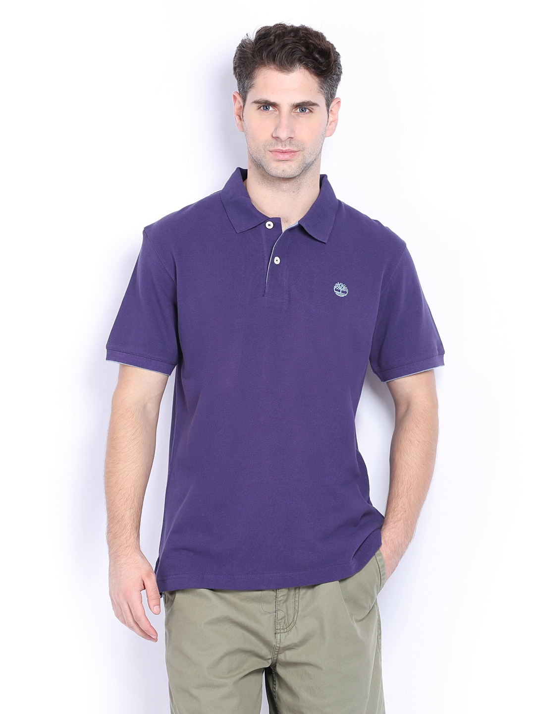Timberland Timberland Men Purple Pique Polo T-Shirt (Multicolor)