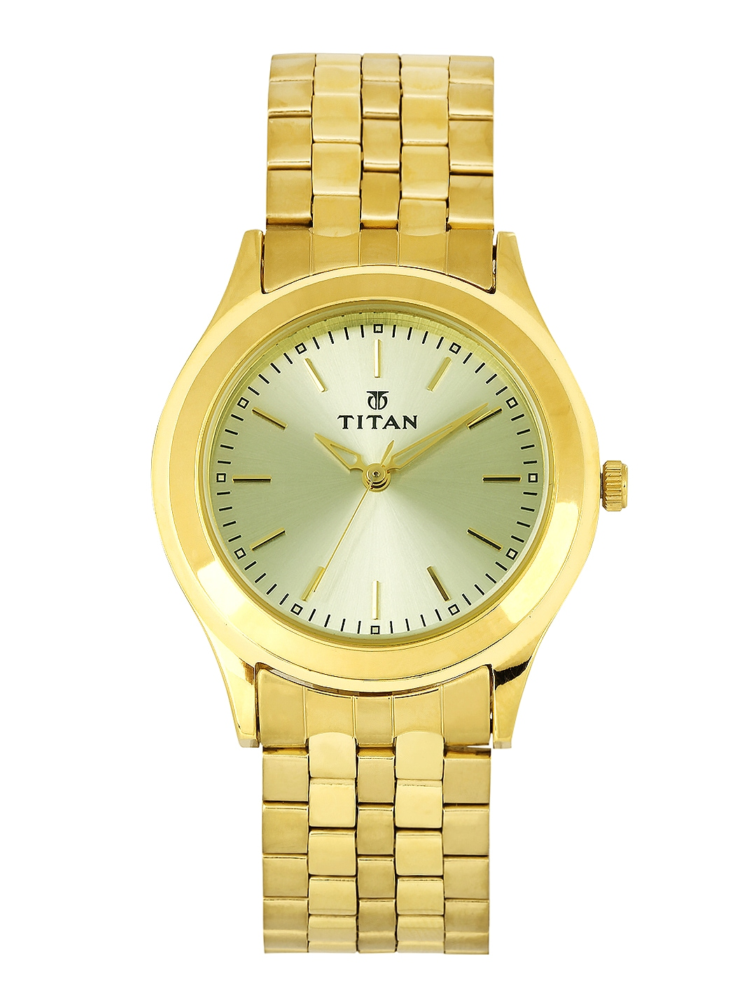 Titan Men Muted Gold-Toned Dial Watch 1648YM02