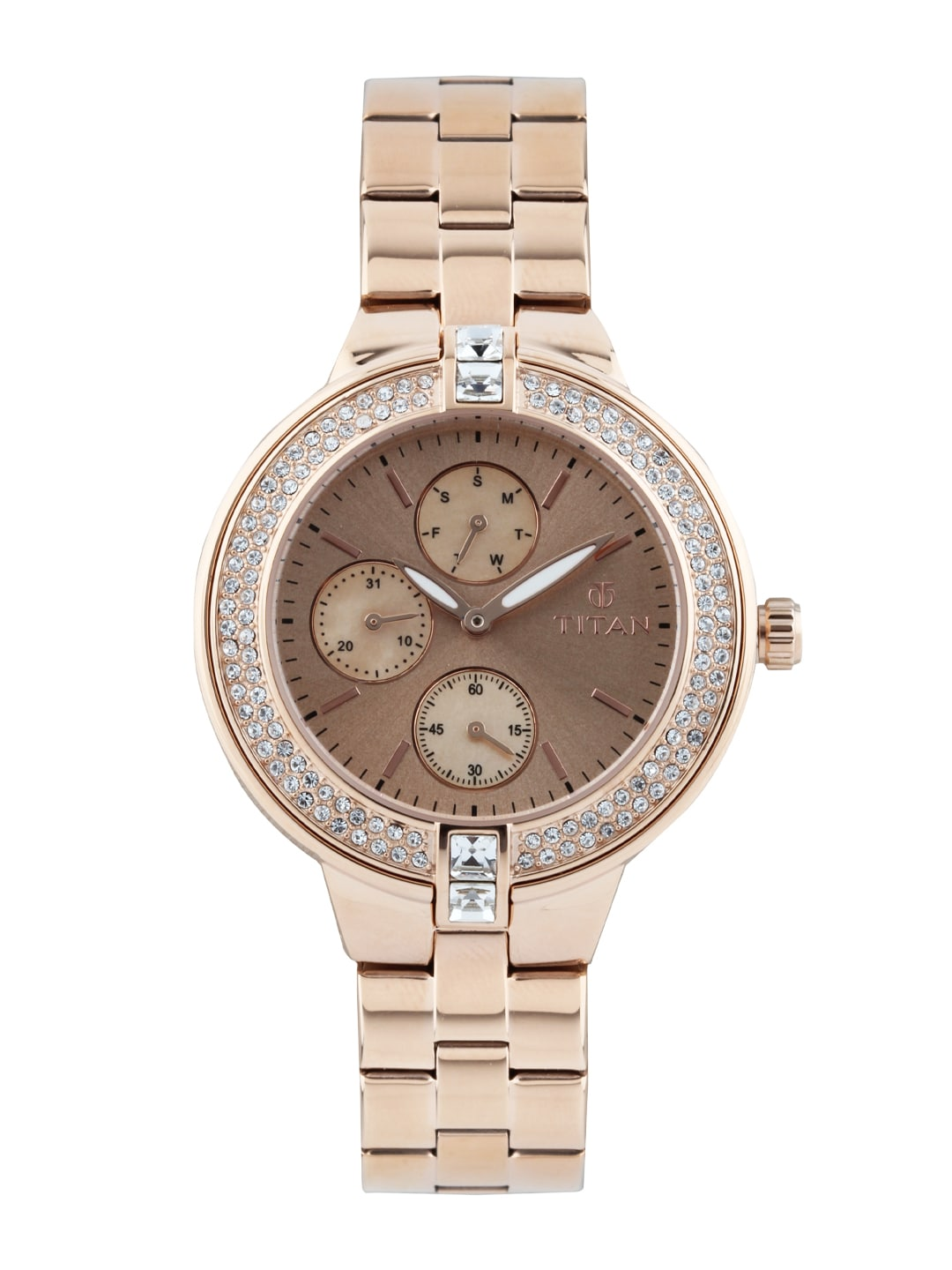 Titan Women Rose Gold-Toned Dial Watch 9967WM01J