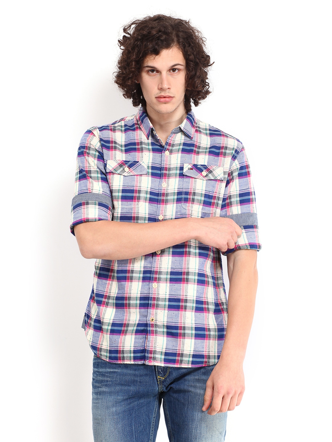 Tommy Hilfiger Men Beige & Blue Checked Orleans Casual Shirt