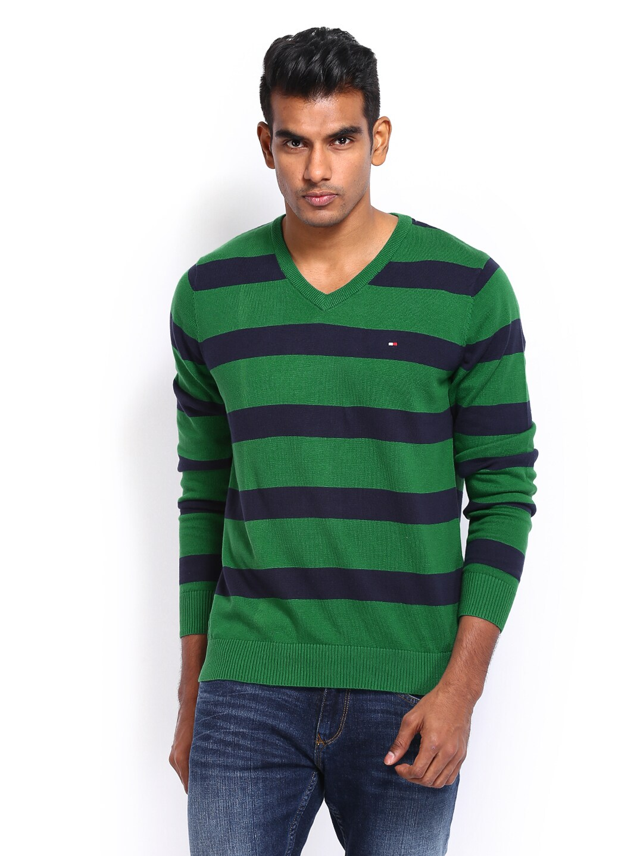 Tommy Hilfiger Men Green & Blue Striped Sweater
