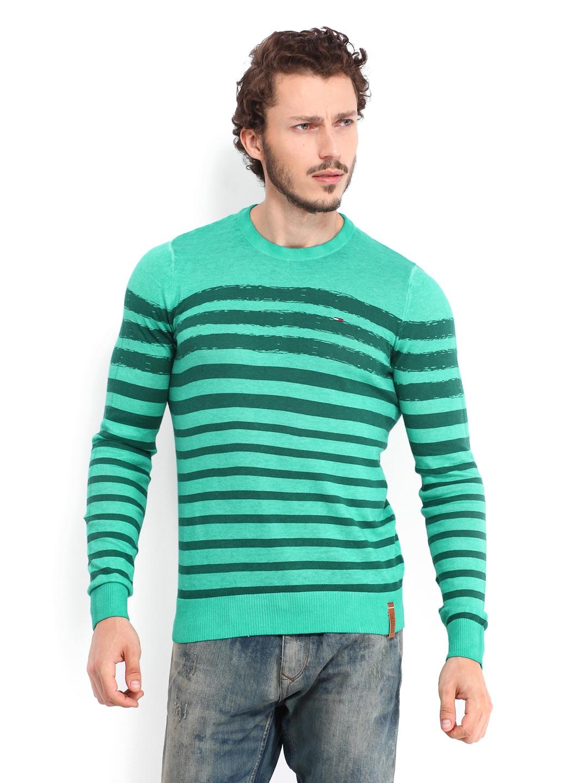 Tommy Hilfiger Men Green Striped Rowan Sweater