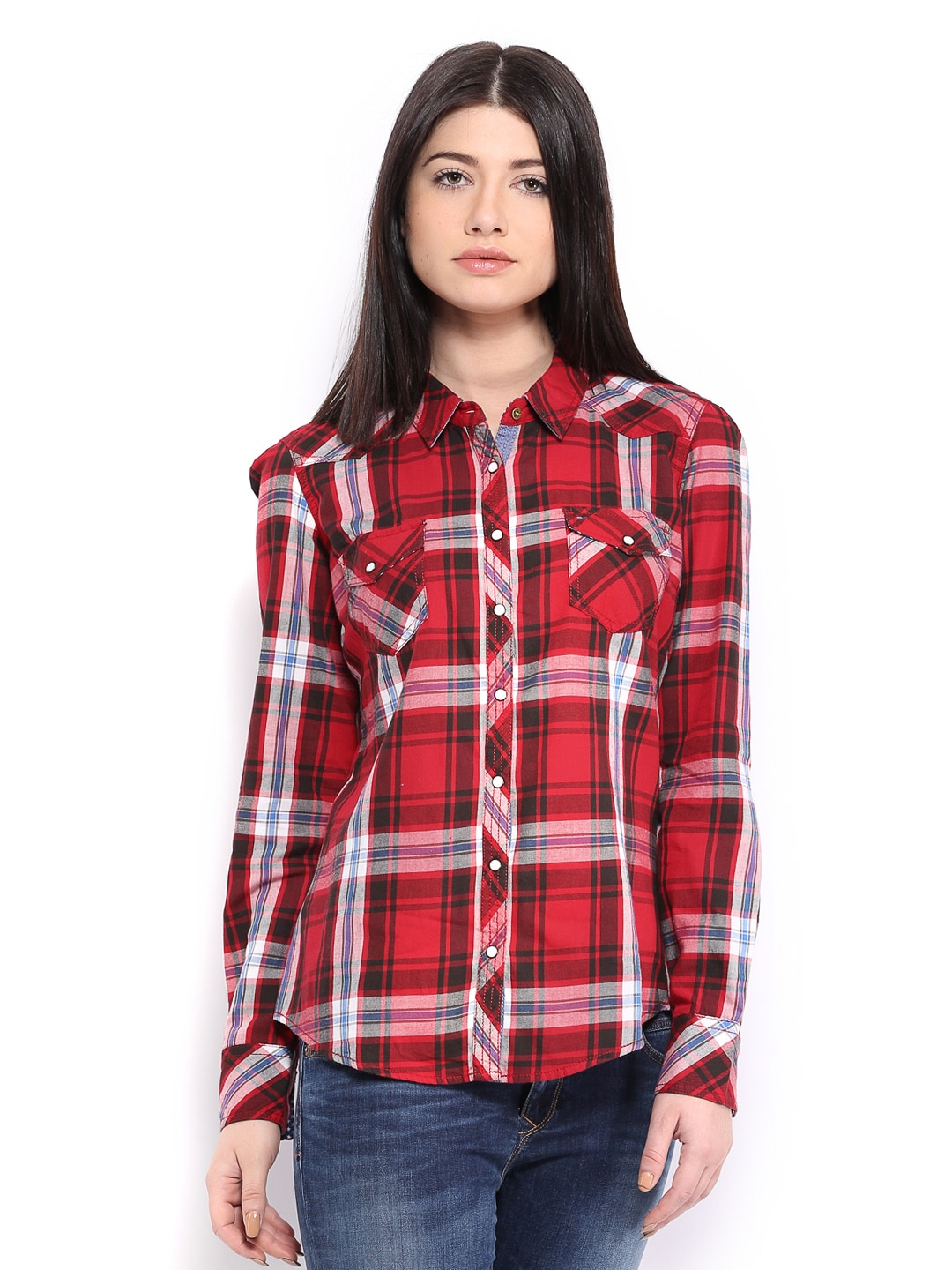 Tommy Hilfiger Tommy Hilfiger Women Red & Black Blanca Checked Shirt (Multicolor)