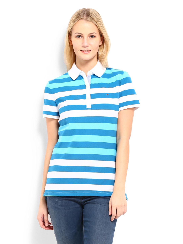 Buy tommy hilfiger women white blue heritage riverside for Tommy hilfiger fitzgerald striped shirt
