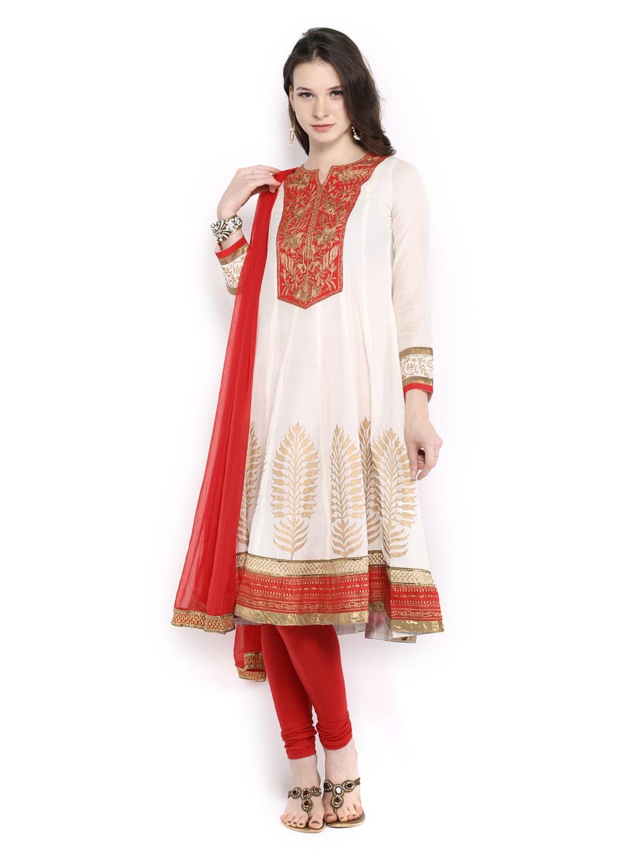 Trishaa Women Off-White & Red Anarkali Churidar Kurta with Dupatta (multicolor)