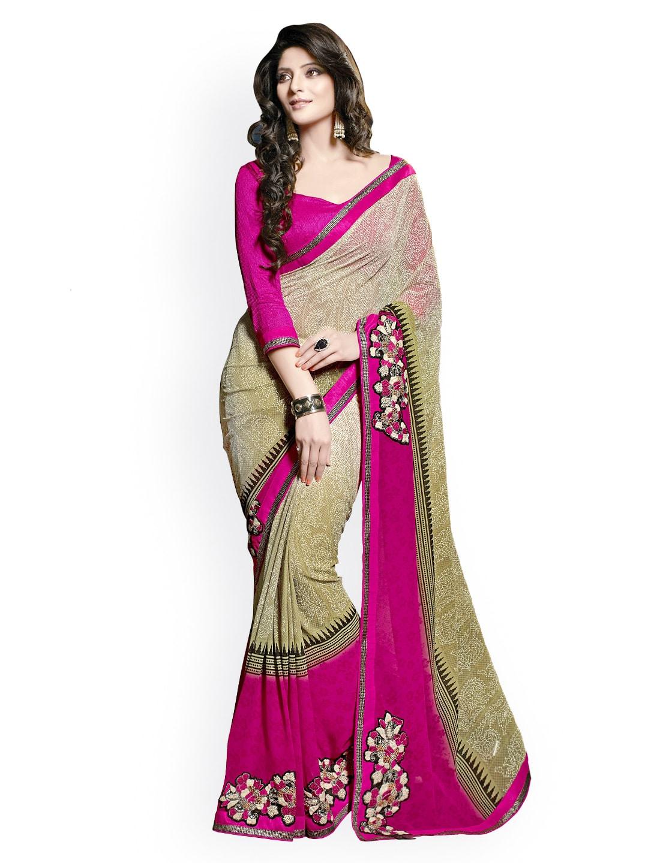 Triveni Beige & Pink Printed Georgette Fashion Saree