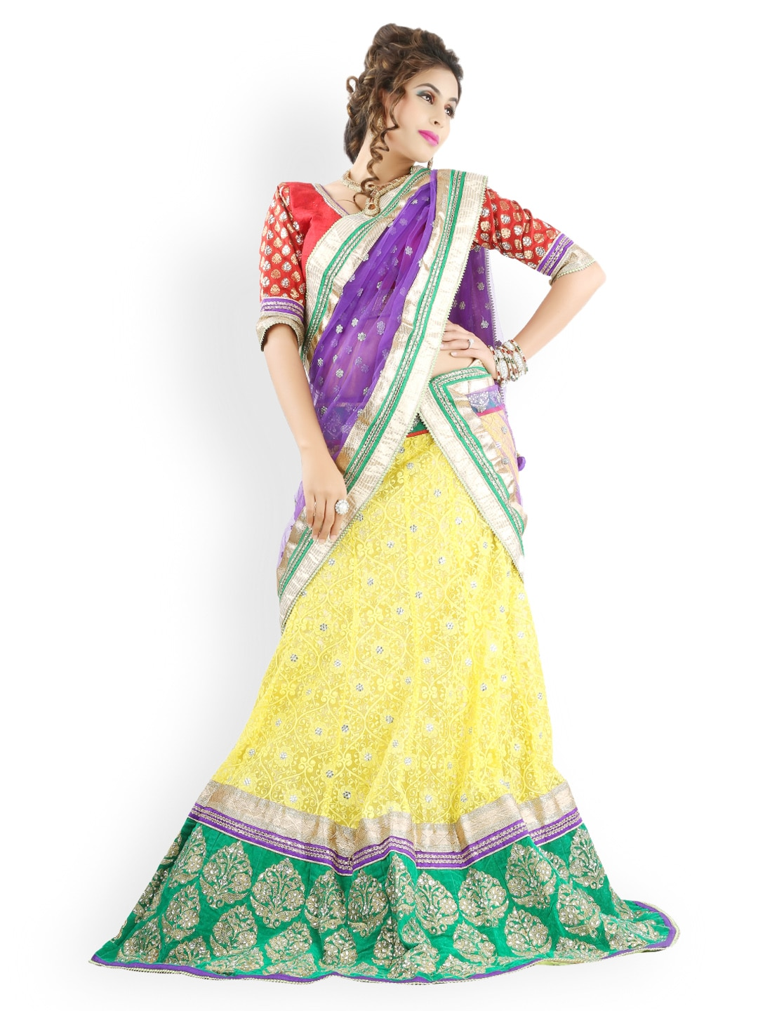 Triveni Multicoloured Net Semi-Stitched Lehenga Choli Material