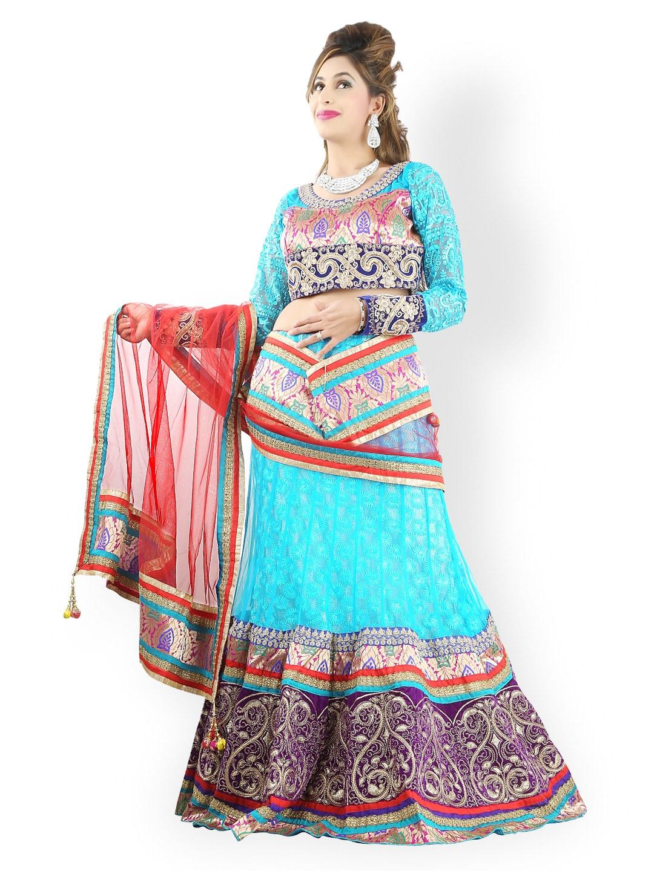 Triveni Turquoise Blue Net Semi-Stitched Lehenga Choli Material