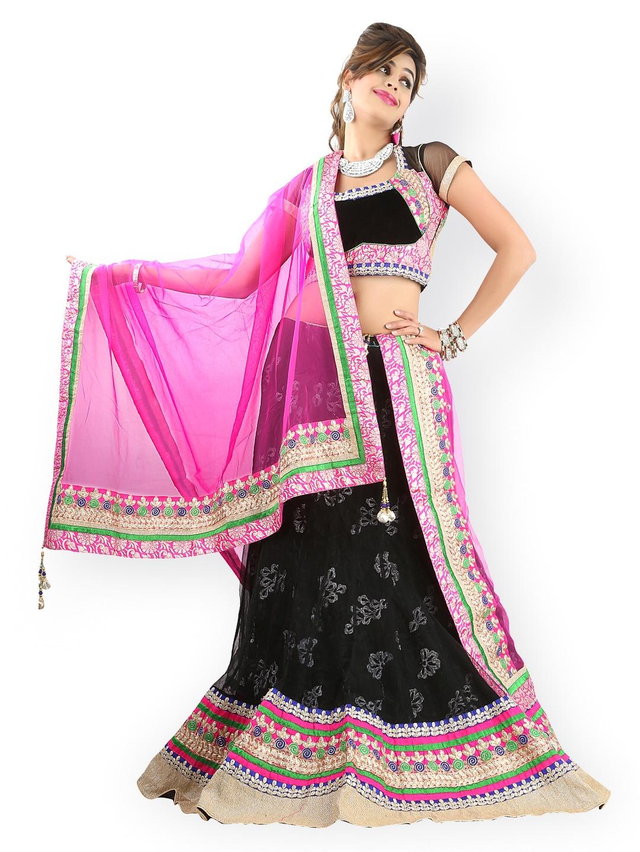 Triveni Black Embroidered Net Lehenga Choli