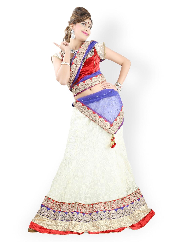 Triveni Cream-Coloured Net Semi-Stitched Lehenga Choli Material
