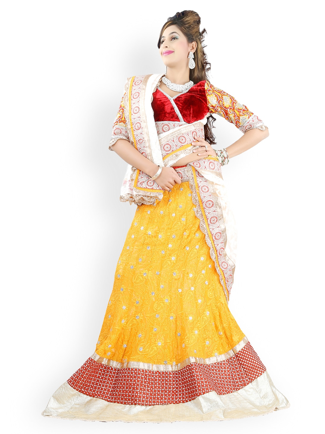 Triveni Yellow & Red Viscose Semi-Stitched Lehenga Choli Material