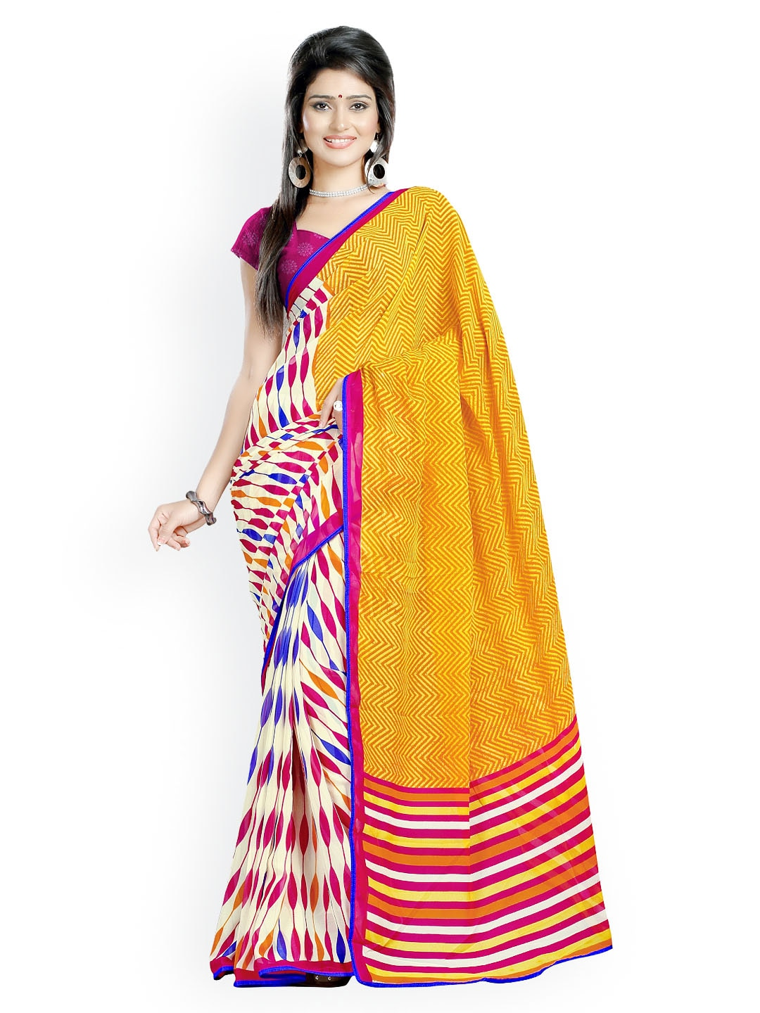 Triveni Multicoloured Chiffon Faux Georgette Printed Saree (multicolor)