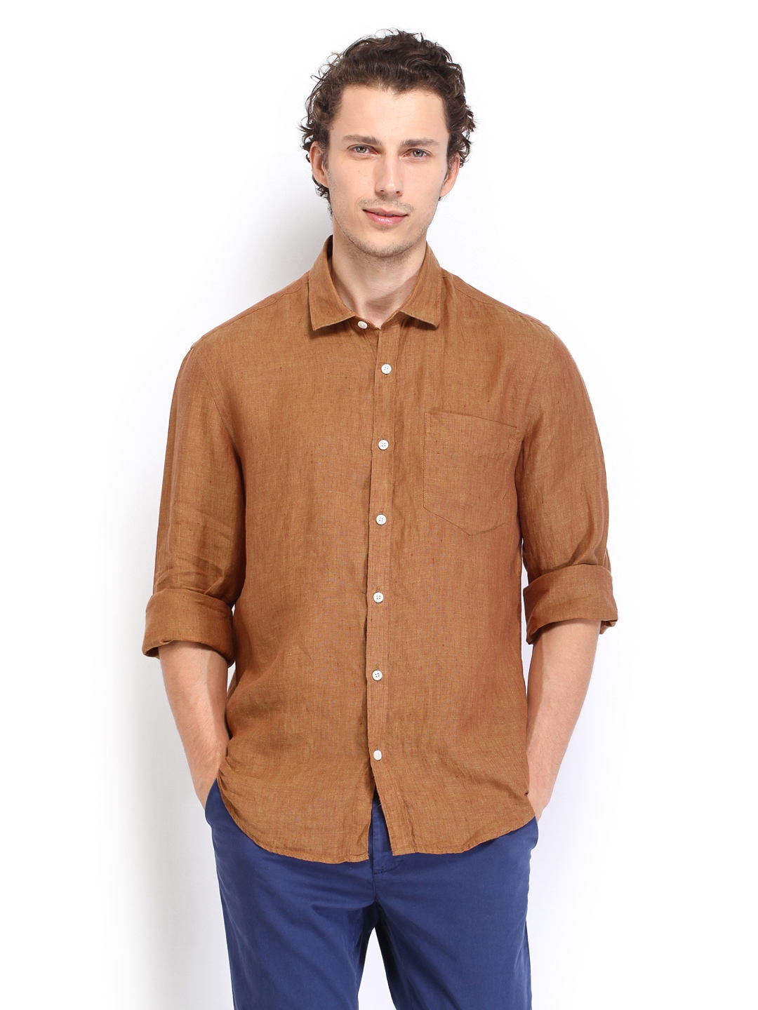 Mustard True Linen Lombard Men Mustard Brown Slim Fit Linen Casual Shirt (Multicolor)