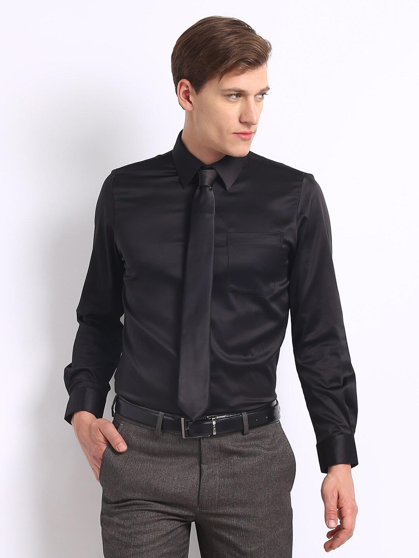 Buy Turtle Men Black Luxury Slim Fit Formal Shirt With Tie