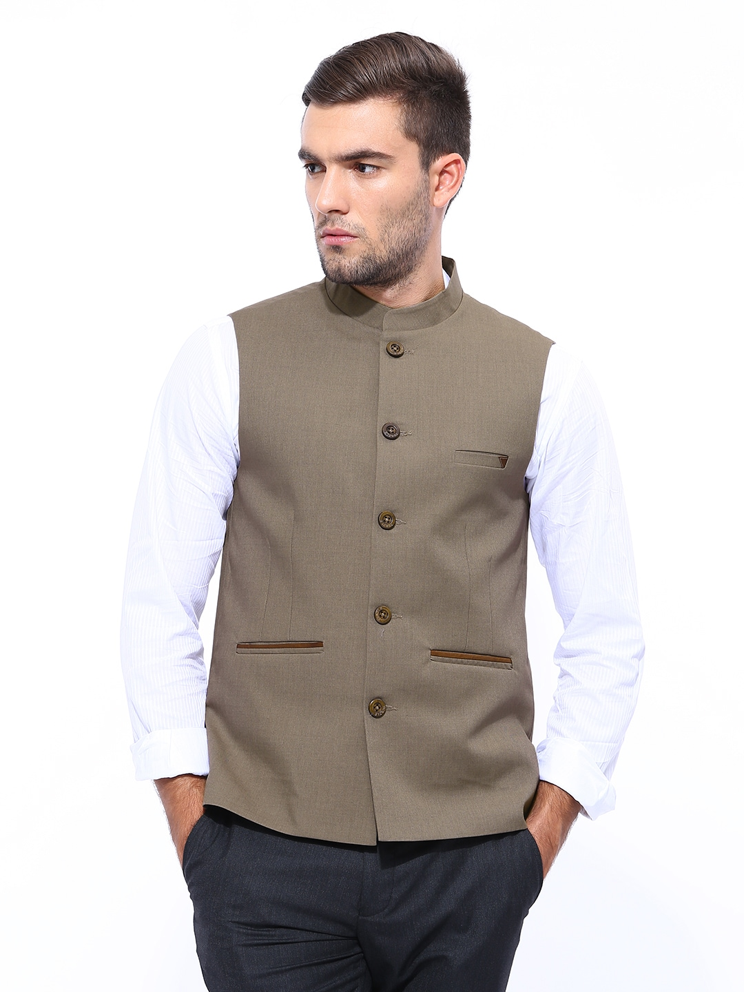 Turtle Men Brown Nehru Jacket