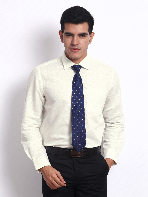 Turtle Men Off-White Linen Blend Tailored Slim Fit Formal Shirt