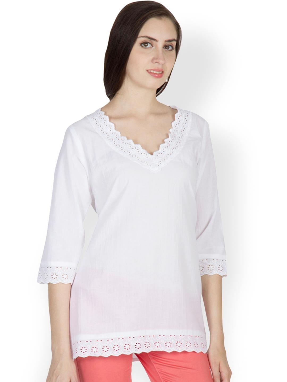 U&F Women White Embroidered Tunic