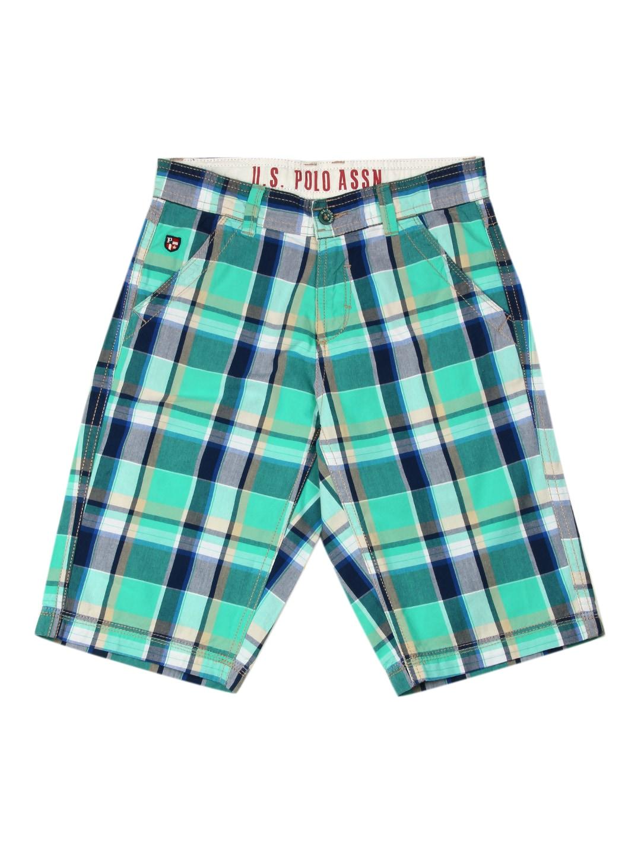 U.S. Polo Assn. Kids Boys Green & Navy Checked Shorts