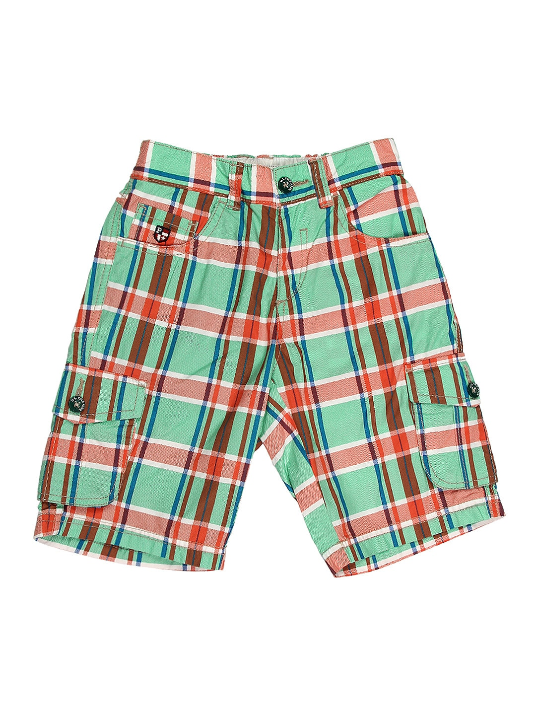 U.S. Polo Assn. Kids Boys Green & Orange Checked Shorts