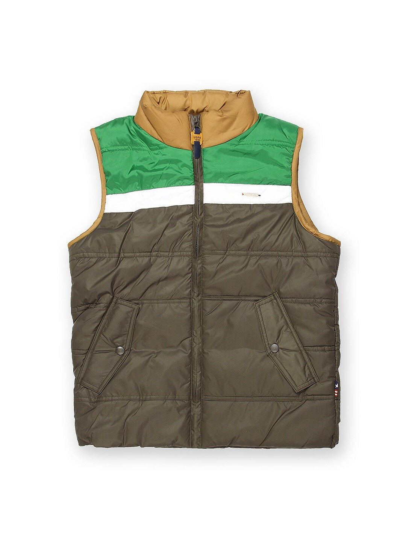 U.S. Polo Assn. Kids Boys Olive Green Sleeveless Padded Jacket