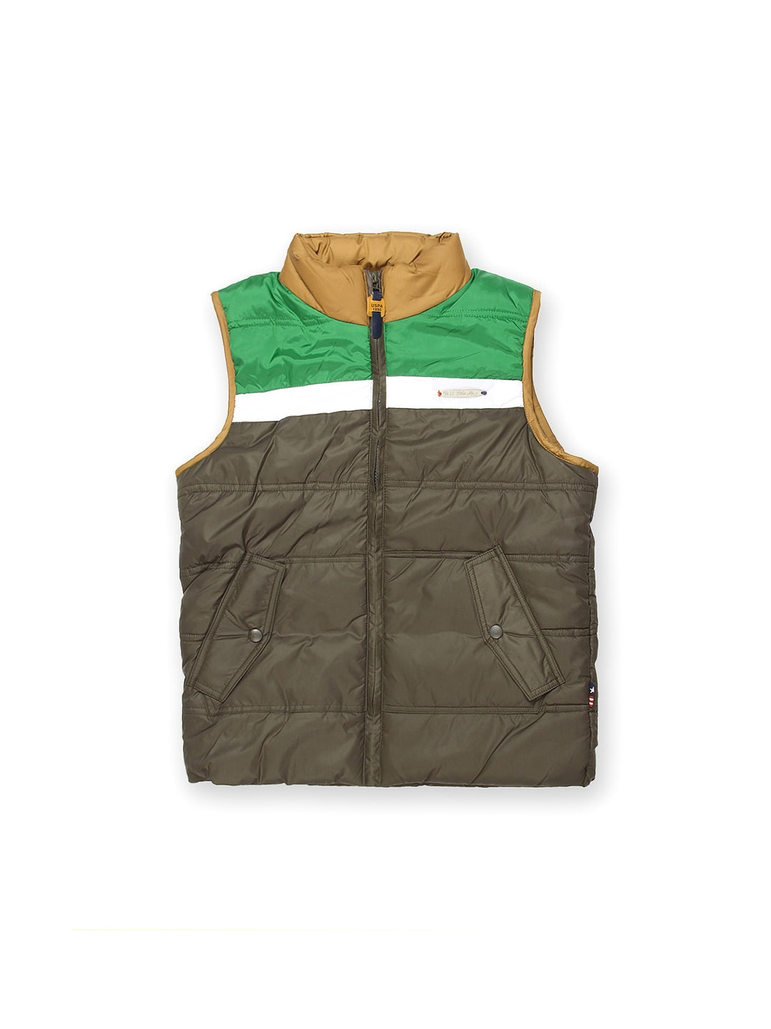 U.S. Polo Assn. Kids Boys Olive Green Sleeveless Padded Jacket