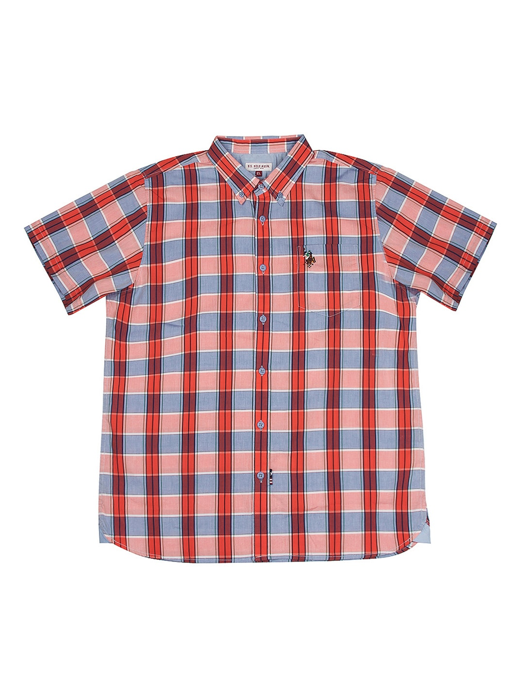U.S. Polo Assn. Kids Boys Orange & Blue Checked Shirt