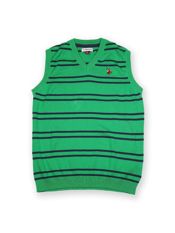 U.S. Polo Assn. Kids Boys Green & Navy Striped Sleeveless Sweater