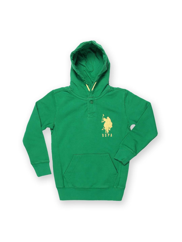 U.S. Polo Assn. Kids Boys Green Hooded Sweatshirt