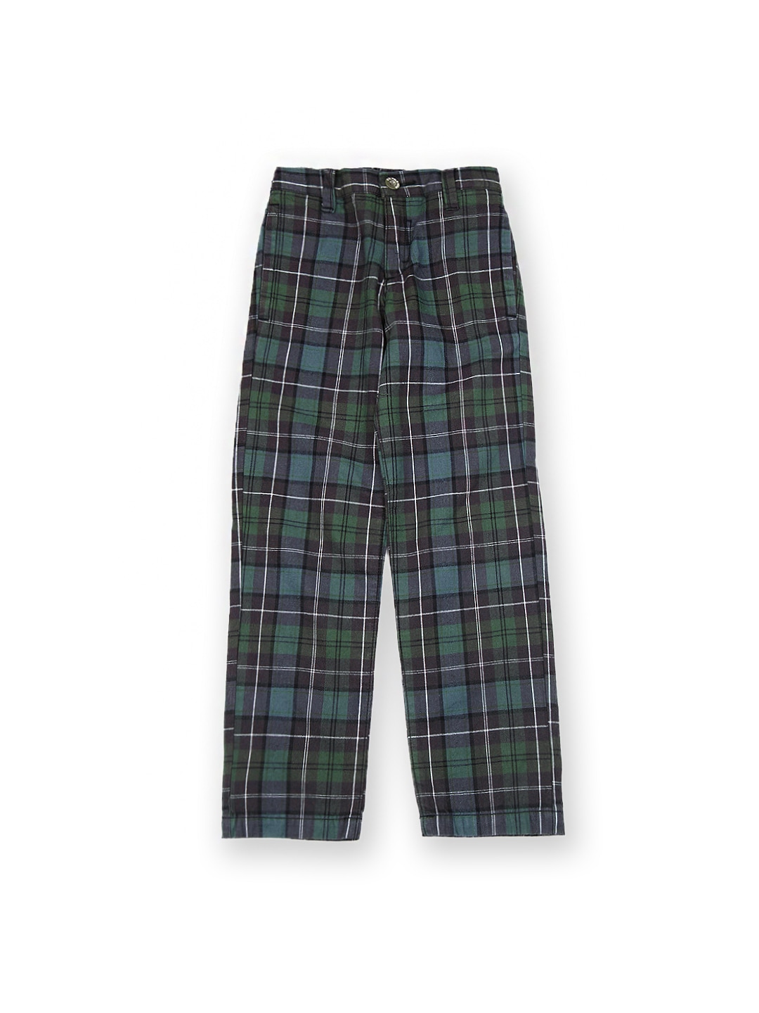U.S. Polo Assn. Kids Boys Green & Charcoal Grey Checked Trousers