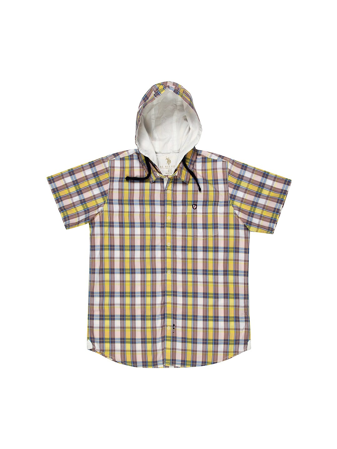 U.S. Polo Assn. Kids Boys Yellow & Mauve Hooded Shirt